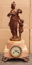 rare grande magnifique pendule XIX EME femme avec enfant regule mouvement signé
