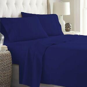 Egyptian Cotton Queen Size Luxury 4 PCs Sheet Set 1000 TC Navy Blue Solid