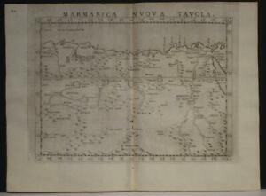 LIBYA EGYPT MARMARICA 1564 PTOLEMY & RUSCELLI ANTIQUE COPPER ENGRAVED MAP