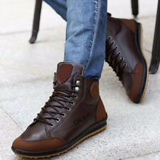 Winter Men's Casual Leather High Top Sneaker Lace-up Work Shoes Ankle Boots P1