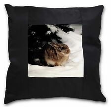 Rabbit in Snow Black Border Satin Feel Cushion Cover With Pillow Inser, AR-4-CSB