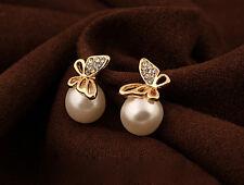 1XPAIR Crystal Golden Butterfly Imitation Pearl beaded Ear Stud Earrings WOMEN S