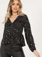 Quiz Blouse Top Size 10 Black Long Sleeve Tea Peplum Blouse In Star Print GU67