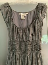 Max Studio Sun Dress Women's Small Medium Gray Cotton Smocking Mini Empire Waist