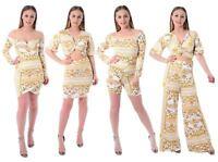 Ladies Chain Print Flared Twist Knot Cross Wrap Over Crop Top Midi Dress Pant
