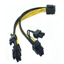 PCI-E 6-pin to 2x 6+2-pin (6-pin/8-pin) Power Splitter Cable PCIE PCI Express b
