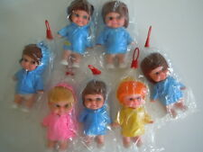 SUPER RARE 1970S BIG EYES DOLLS IN RAINCOAT WITH BIG SMILES HAPPY FACES CARNIVAL