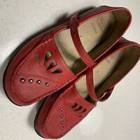 "Ladies HOMY PED ""Gabriel"" Red Leather Comfort Shoe SIZE 8"