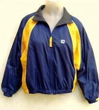 Wilson Juniors Tennis Raglan Jacket L Zip Nylon Fleece Line Navy Blue ColorBlock