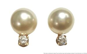 8mm Fine Akoya Pearl Ultra White Diamond 14k Yellow Gold Earrings