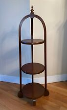 Antique Vintage Solid Cherry Traditional Three Tier Muffin Dessert Display Stand
