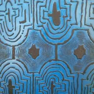 One of a Kind Mid Century Blue & Black Embossed Cabinet Doors Set of 4