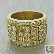 Vintage Estate 14k Solid Yellow Gold 1.67ctw Diamond Cluster Wide Band Ring