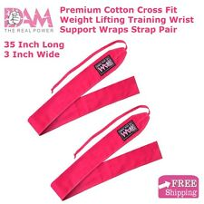 WOMEN PINK WRIST WRAPS HEAVY DUTY POWERLIFTING BODYBUILDING GYM SUPPORT STRAPS