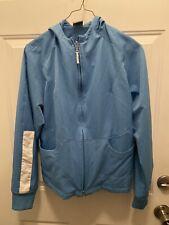 Nike Light Blue Windbreaker Jacket Zip Front With Hood Big Girl Size M 8-10
