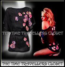 BNWT KATE MOSS TOPSHOP Black Wet Look Silk Oriental Obi Blouse Floral Sequin UK8