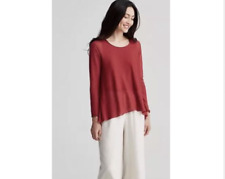 Eileen Fisher Jewel Neck Linen Crepe Knit Swing Top Sweater in SERNO Sz PP NWT