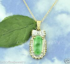 18K Natural A Jade &  Diamond Pendant  Oblong jade  Bagguette 0.82 ct
