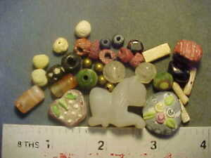 30+ Ancient beads circa 1000 BC- 1700 AD + An Egyptian lion amulet