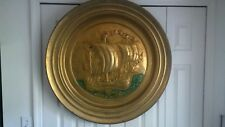 """34"""" Vintage Hammered Brass Sailing Ship Wall Art/Plate"""