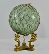 Vintage Japanese Glass Fishing Float Original Netting 5 1/2� with stand