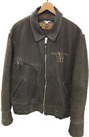 Harley Davidson Mens Size Large  V-TWIN POWER Brown Bomber Leather Jacket