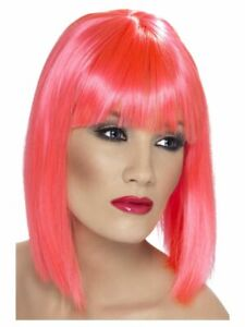 Smiffys Glam Wig Short Blunt with Fringe - Neon Pink