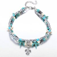 Fashion Sea Turtles Bracelet Imitation Pearls Starfish Charm Anklet Jewelry Gift