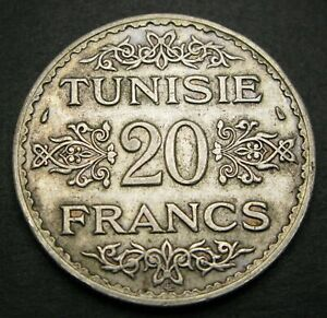 TUNISIA 20 Francs AH 1353 (1934) (a) - Silver - VF - 1288