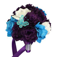 "9"" Wedding Bouquet - Purple, Malibu Blue, and White Silk Roses with Butterfly"