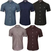 Xact Men's Grandad Collar Oxford Shirt  Slim Fit Short Sleeved