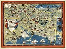 Pictorial Map Salem Massachusetts Family History Wall Art Poster Print Decor