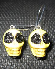 Yellow Stone Skull Earrings Roses