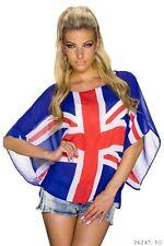 TUNIKA England Flagge Bluse Fledermaus SHIRT T-Shirt Blau Sommer Damen 34 36 38