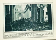 1916 WWI WW1 PRINT ARRAS GERMAN BOMBARDMENT CATHEDRAL INTERIOR REMAINS OF ORGAN