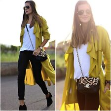 ZARA LOOSE FIT YELLOW MUSTARD OLIVE GREEN TRENCH COAT BLOGGERS SIZE M MEDIUM