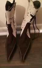Vis ā Vie Ivory Brown Animal Print  Leather Boots Booties Women's Size 6 1/2