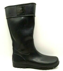 Sperry Top Sider Logo Black Rubber Pull On Tall Rain Boots Shoes Women's 10