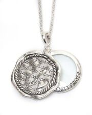 Silver Serenity Prayer Necklace Magnifying Glass 2 Pendants Long Chain QUALITY