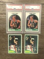 Larry Bird Lot (2) 1989 Hoops PSA 9 & (2) 1981 Topps Super Action Cards