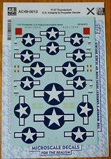 Microscale Decal #AC48-0013 P-47 Thunderbolt U.S. Insignia & Propeller Decals