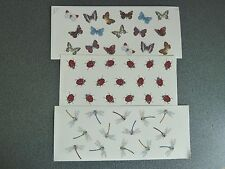Ceramic Decal Set of Three Mug Wraps Dragonfly Ladybird Butterfly Butterflies