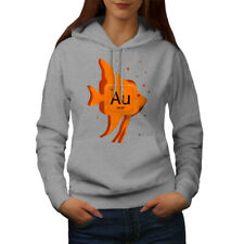 Wellcoda Gold Element Womens Hoodie, Fish Funny Casual Hooded Sweatshirt