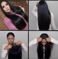 "26"" Women Brazilian Human Hair Wigs Long Straight Lace Front Full Wig Baby Hair"