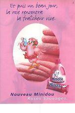 PUBLICITE ADVERTISING 1997   MINIDOU assouplissant lessive parfum roses sauvages