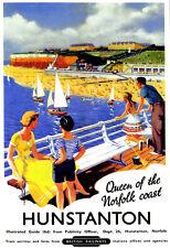 Hunstanton reina de la costa británica tren riel de viaje de Norfolk cartel impresión