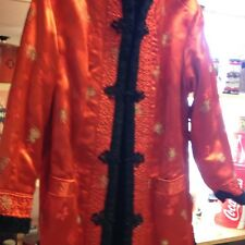 Vintage Reversible Coat Black  Faux Fur And Red Silk Oriental  Lovely! Size S