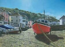 SUPERB ORIGINAL RICHARD HARPUM M.A (Camb) Red Boat Polperro Cornwall  PAINTING