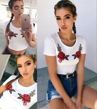 UK Womens Floral Short Sleeve Crew Neck T Shirt Ladies Casual Crop Blouse Tops