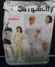 Men's, Woman's Yes I Can Learn to Sew Work Out Clothes Pattern Lg-Xlg UNCUT FF